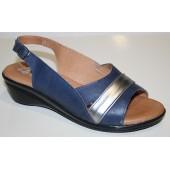 Zapato cuña marino bronce ancho especial 48 horas