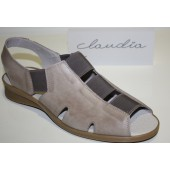 Zapato tipo sandalia color taupe ancho especial